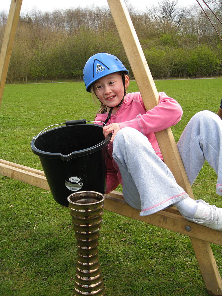 Girl in team building activity